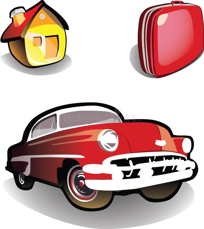 Chambre, véhicule, valise - graphismes illustration de vecteur