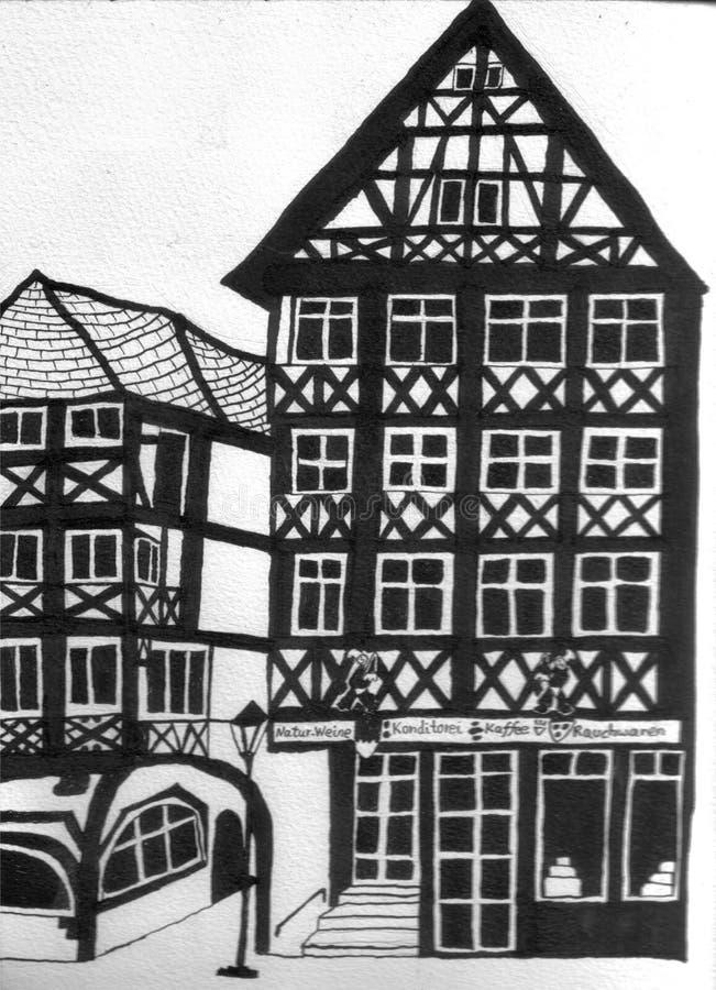 Chambres à colombage allemandes avec un café illustration libre de droits