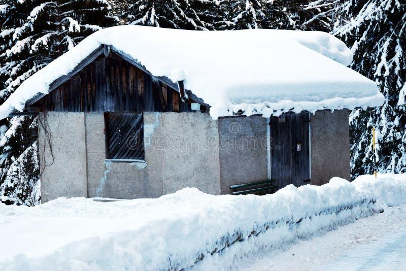Chambres couvertes par la neige, arbres, hiver en montagnes de Dolomiti, dans Cadore, l'Italie photos stock