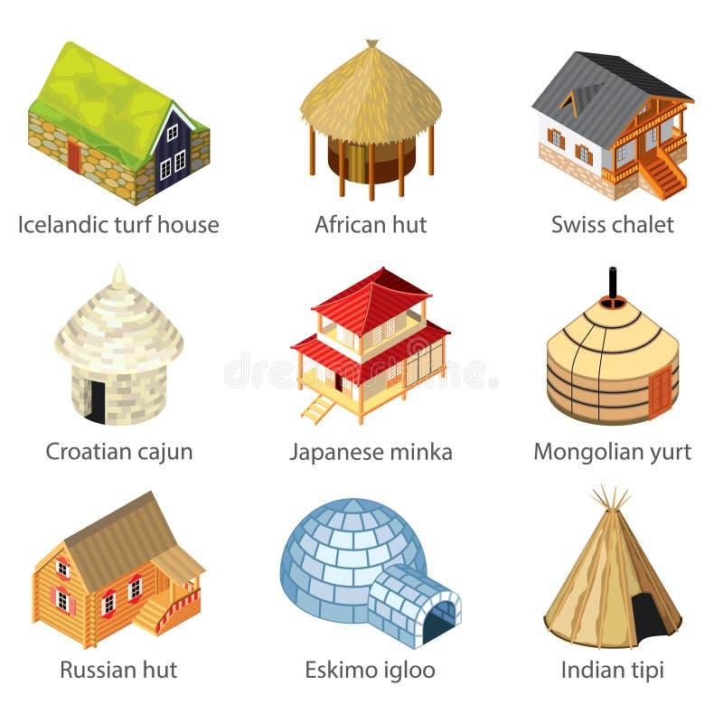 Chambres d'ensemble différent de vecteur d'icônes de nations illustration stock