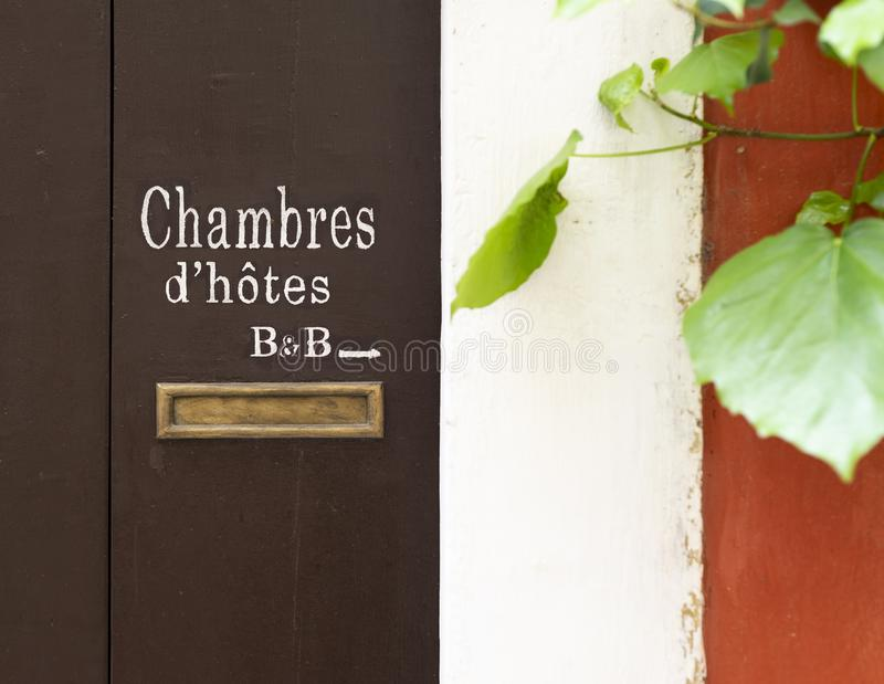 Chambres d`hôtes sign. Chambre d`hôtes and B&B sign on the door in France royalty free stock images