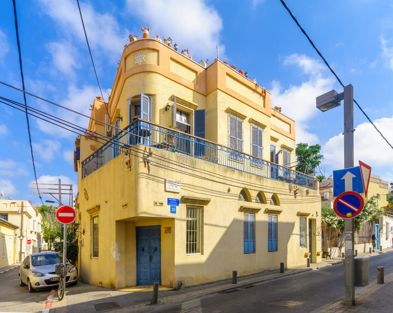 Chambres dans le voisinage historique de Neve Tzedek, Tel Aviv photographie stock