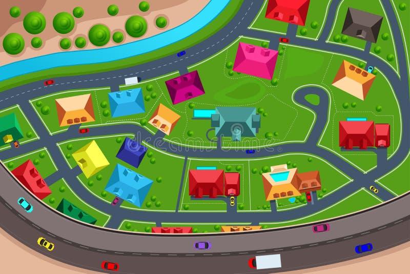 Chambres dans suburbain vu d'en haut illustration stock