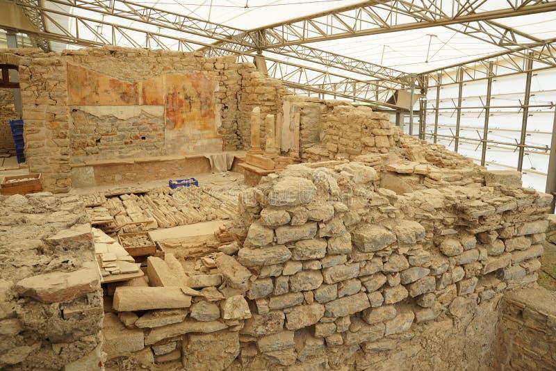 Chambres de terrasse en Ephesus, grec ancien et point de repère célèbre de ruines romaines en Turquie images libres de droits