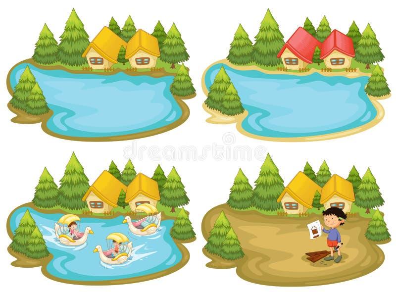 Chambres et lac illustration de vecteur