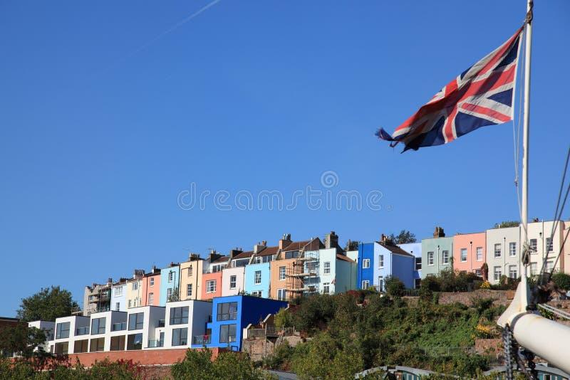 Chambres le long de bord de mer de Bristol images libres de droits