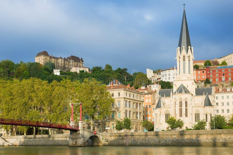 Chambres sur le remblai à Lyon image libre de droits