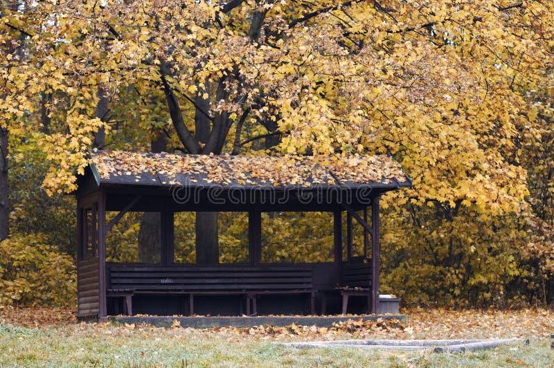 Chambrette en stationnement d'automne photos libres de droits