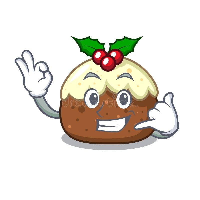 Chame-me desenhos animados da mascote do bolo do fruto ilustração do vetor