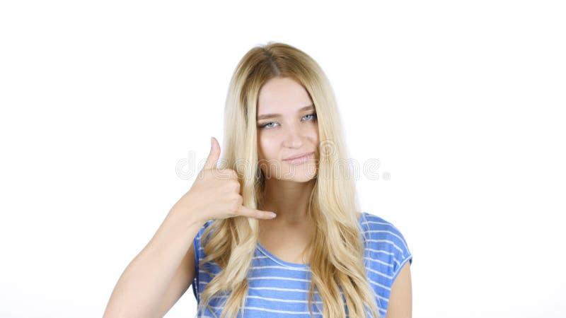 Chame-me gesto pela mulher, junte-se me, linha de ajuda, fundo branco imagens de stock royalty free