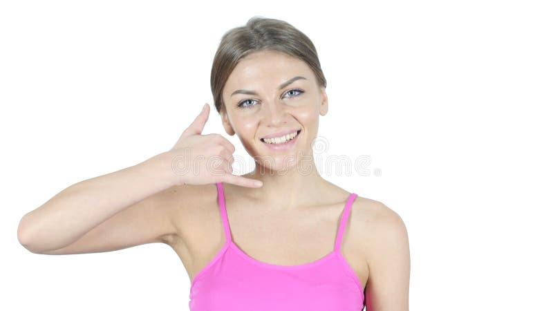 Chame-me gesto pela mulher, junte-se me, linha de ajuda, fundo branco fotos de stock royalty free