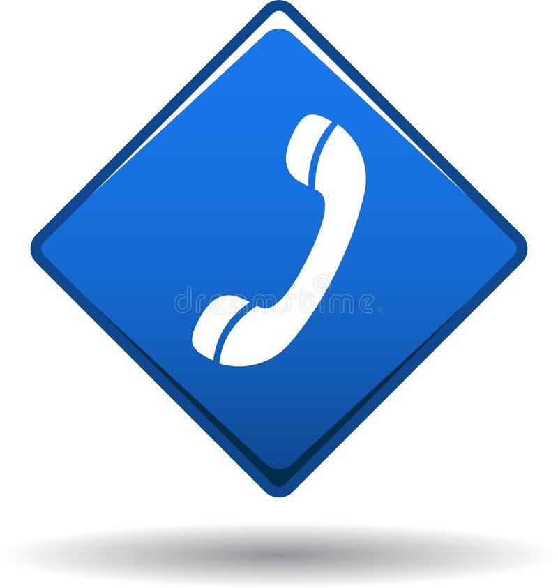 Chame-nos azul do ícone da Web do botão ilustração stock
