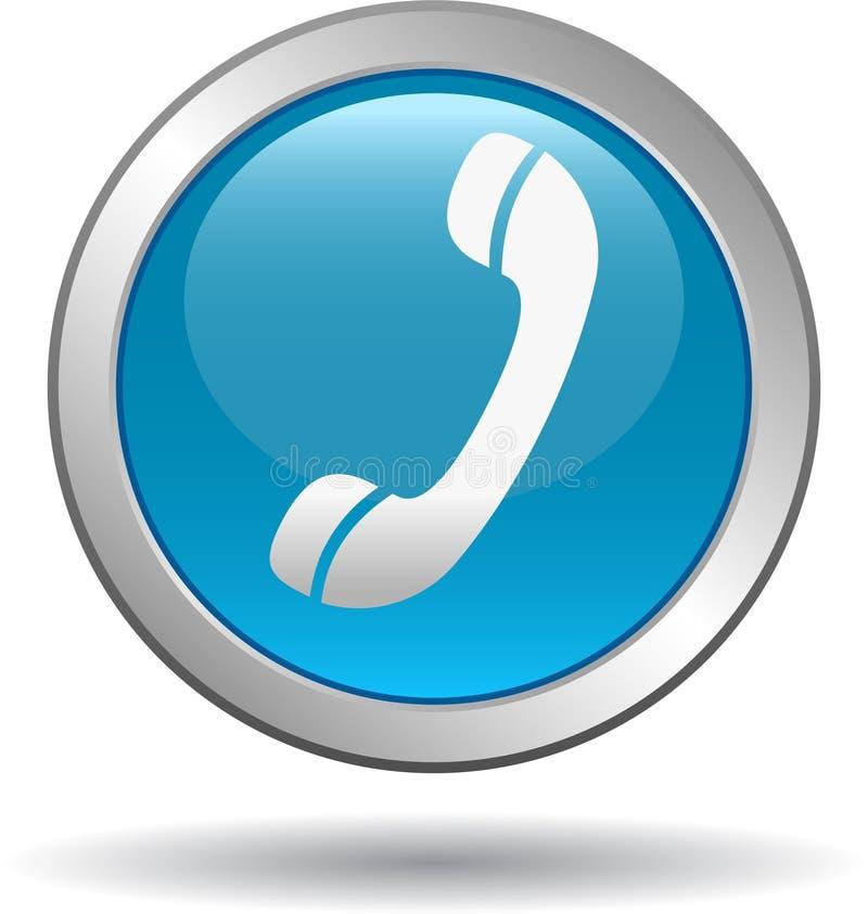 Chame-nos azul do ícone da Web do botão ilustração royalty free