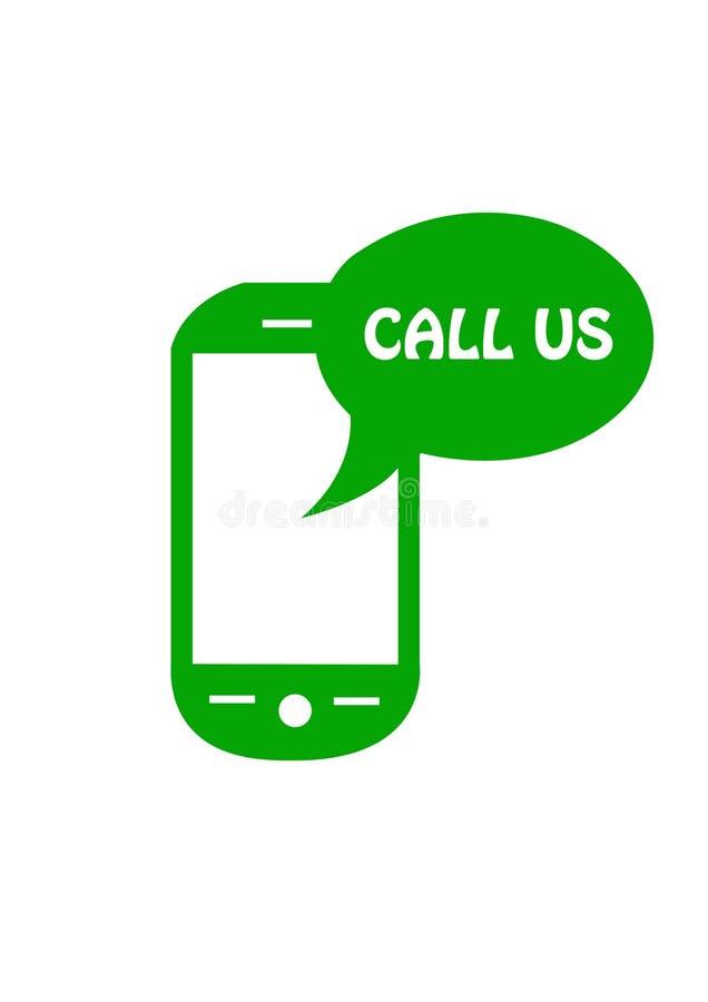 Chame-nos botão do logotipo com telefone ilustração royalty free