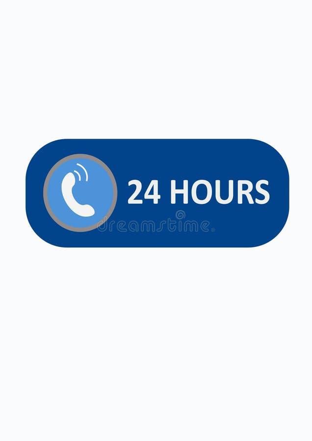 Chame-nos botão do logotipo 24 horas ilustração do vetor