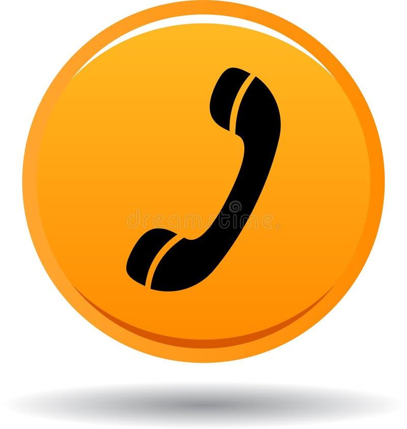 Chame-nos laranja do ícone da Web do botão ilustração do vetor