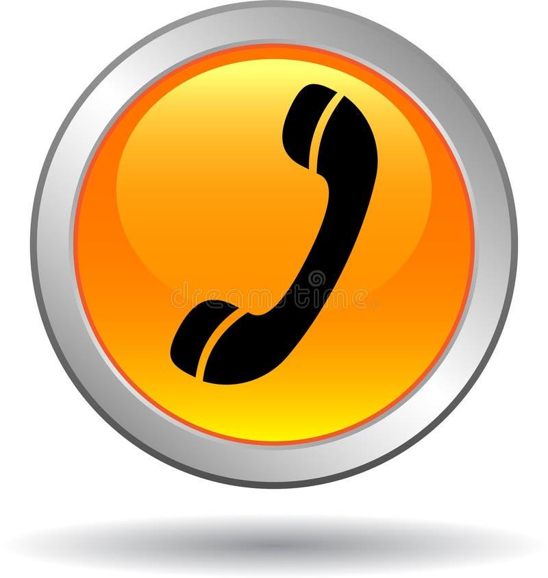 Chame-nos laranja do ícone da Web do botão ilustração stock