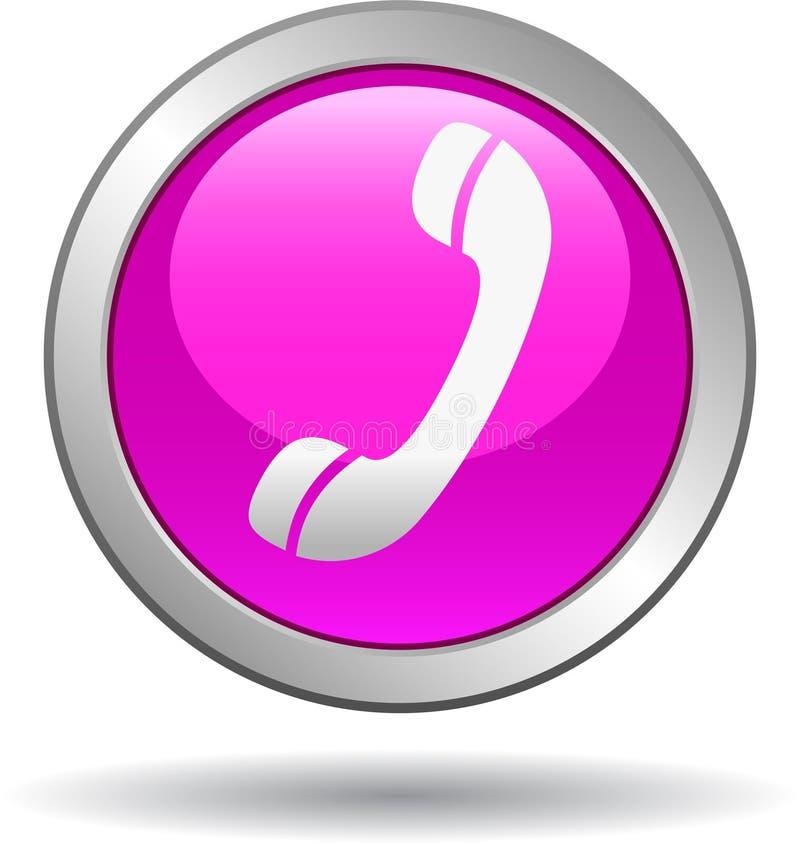 Chame-nos rosa do ícone da Web do botão ilustração royalty free