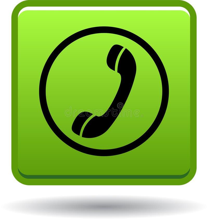 Chame-nos verde do ícone da Web do botão ilustração stock