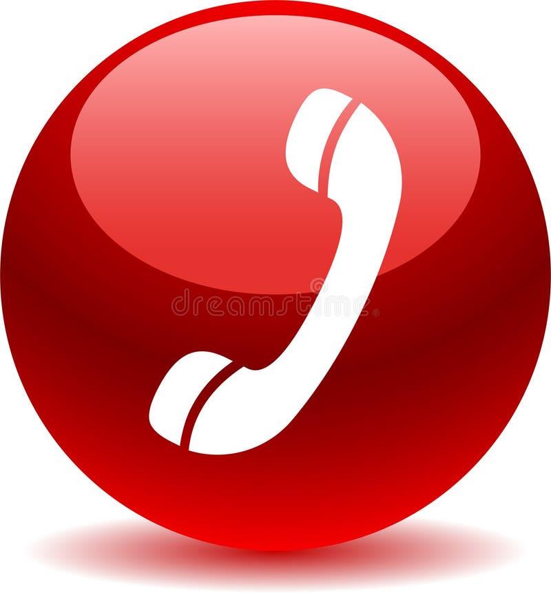 Chame-nos vermelho do ícone da Web do botão ilustração stock