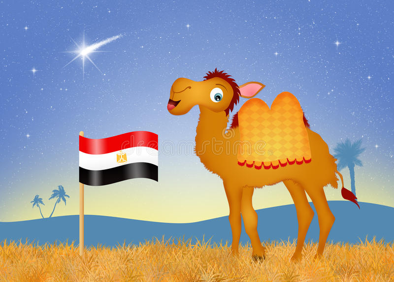 Chameau avec le drapeau Egypte illustration libre de droits