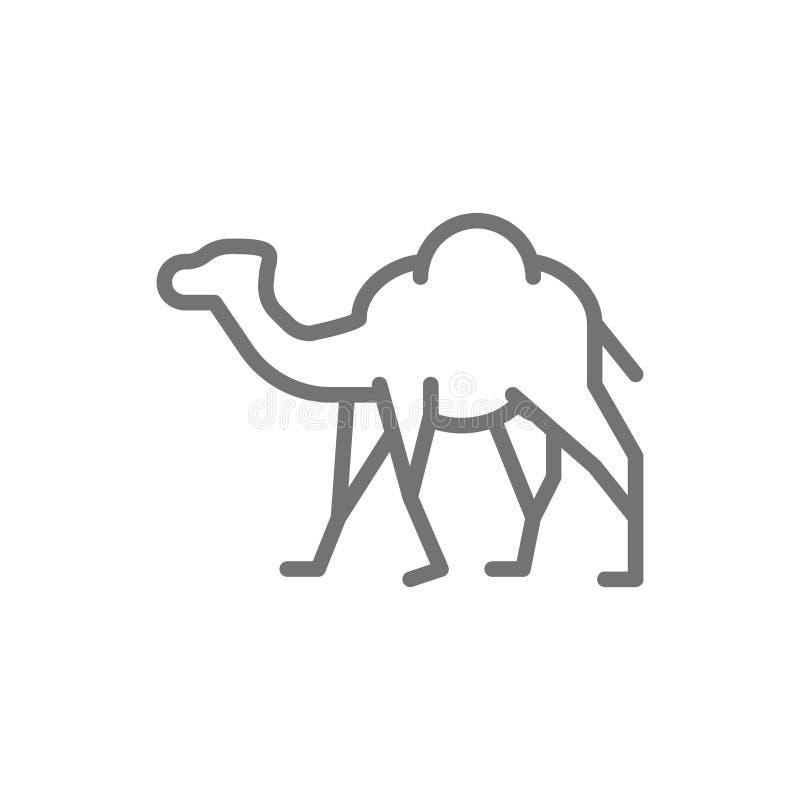 Chameau, caravane, ligne animale icône de désert illustration libre de droits
