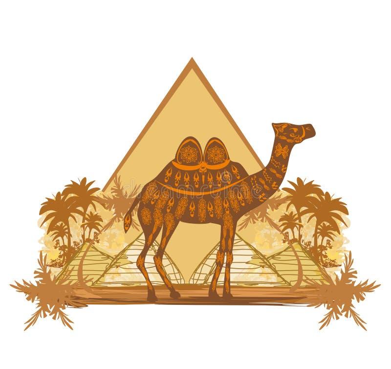 Chameau dans le désert de l'Egypte - bannière illustration de vecteur