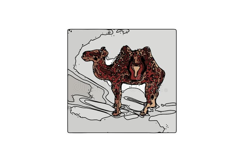 Chameau de vecteur Un animal du désert Faune Arabe Animal égyptien, griffonnage illustration de vecteur
