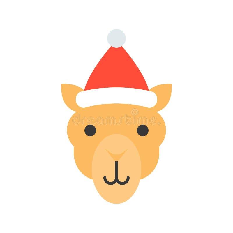 Chameau portant la conception plate d'icône de chapeau de Santa illustration libre de droits