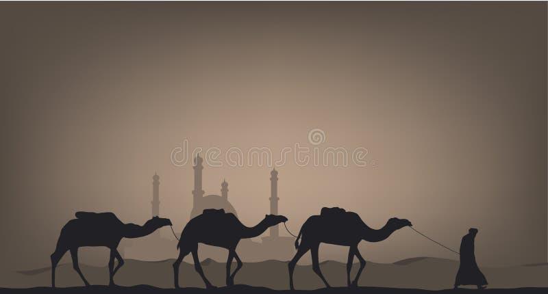 Chameaux dans le désert illustration stock
