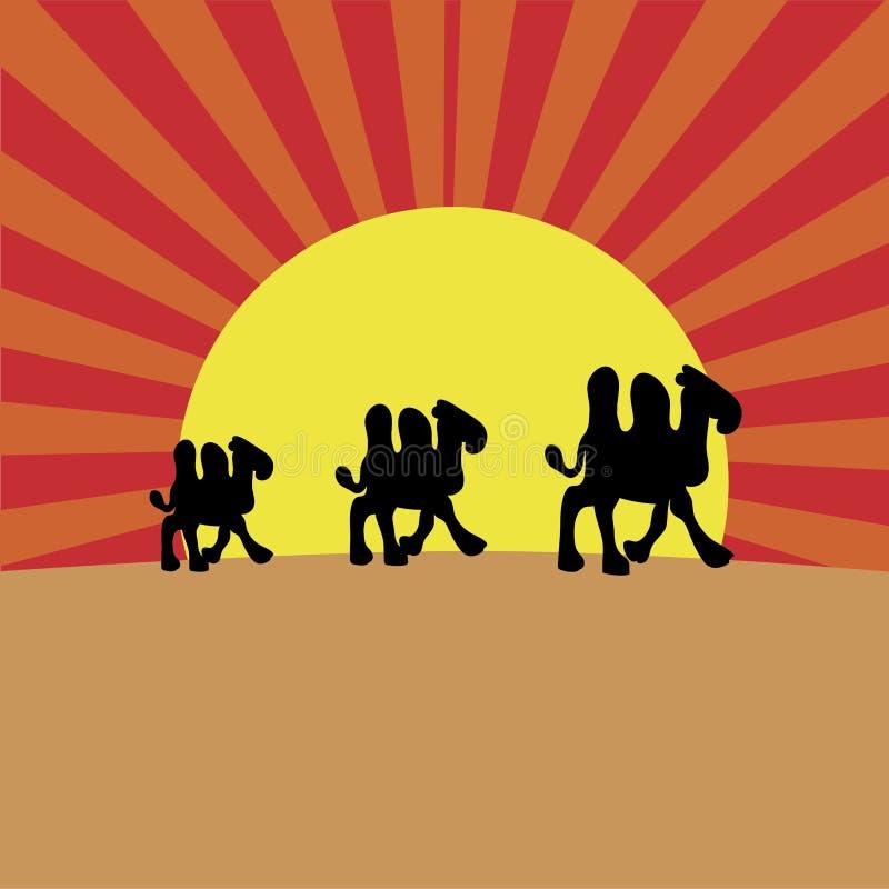 Chameaux sur le crépuscule illustration libre de droits