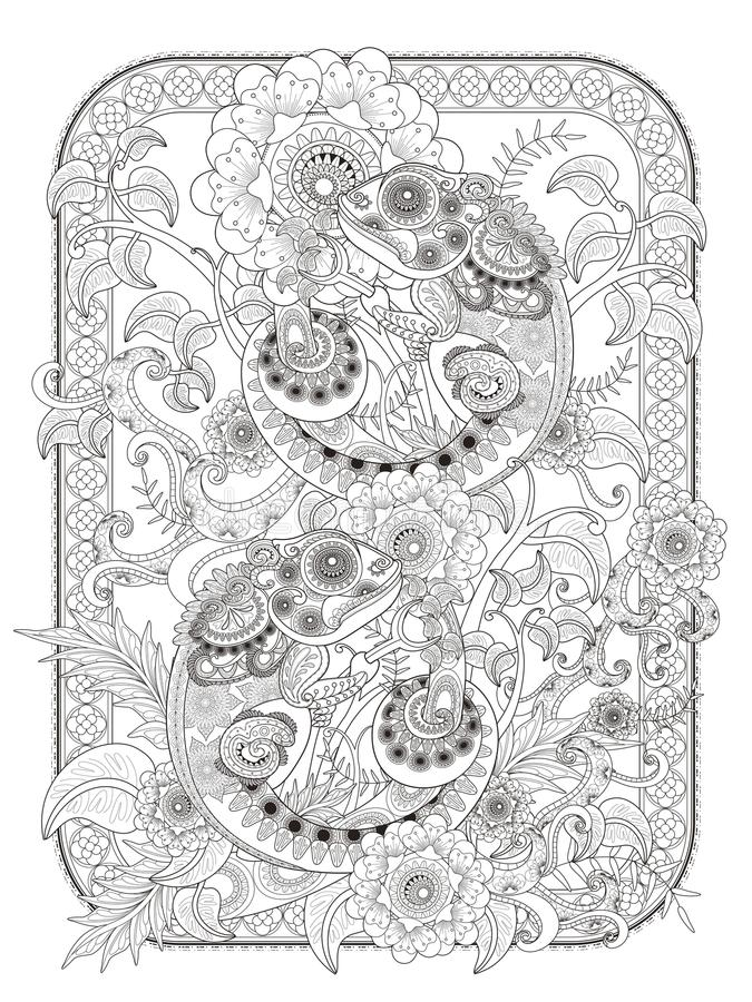 Download Chameleon Adult Coloring Page Stock Vector