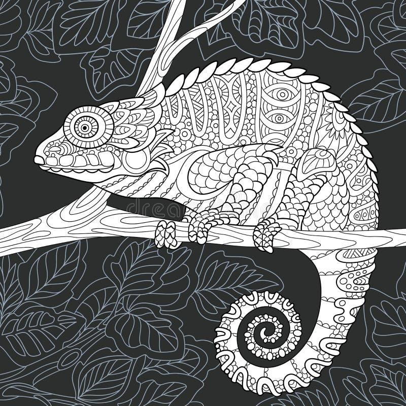 Chameleon in black and white style stock illustration