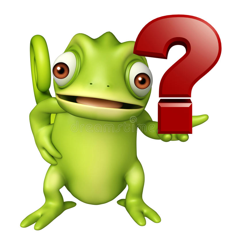 Chameleon Cartoon Character With Question Mark Sign Stock