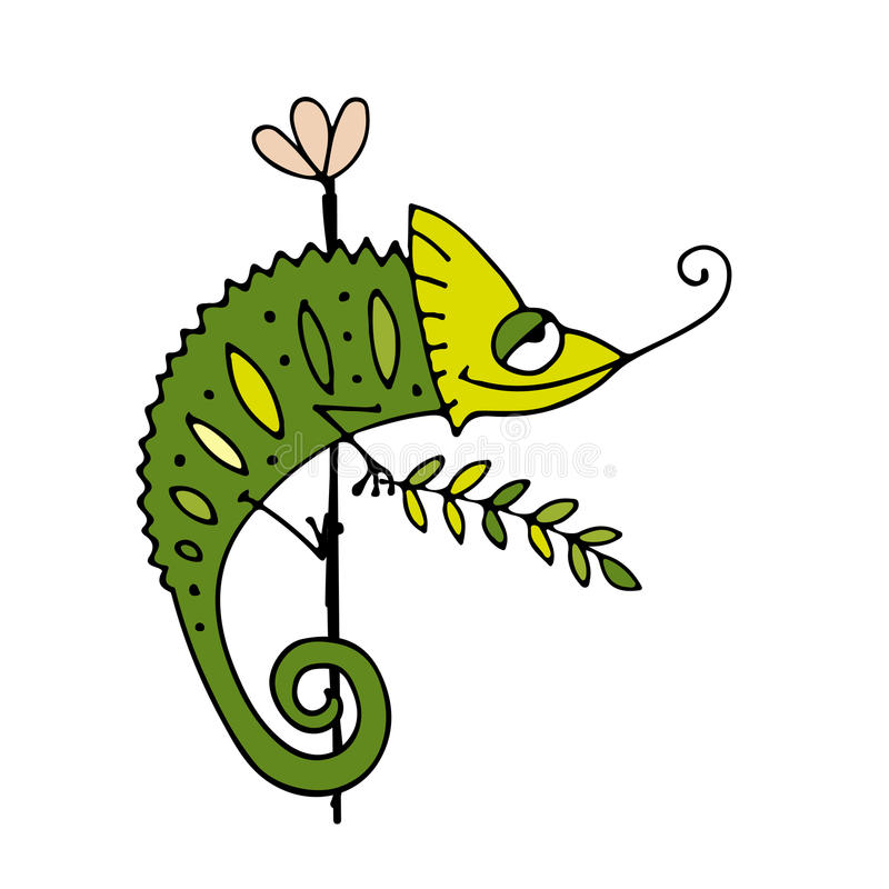 Chameleon cartoon, sketch for your design stock illustration