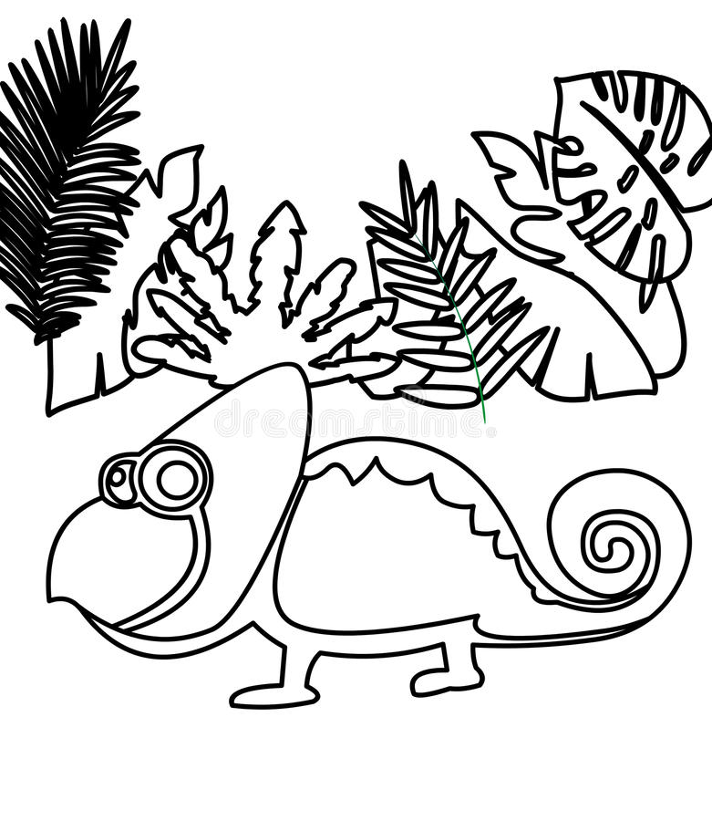 Chameleon coloring page stock illustration. Illustration of coloring ...