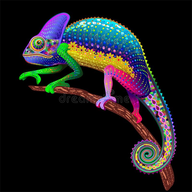 Download Chameleon Floral Rainbow Fantasy Stock Vector - Illustration of reptile, nature: 61863499