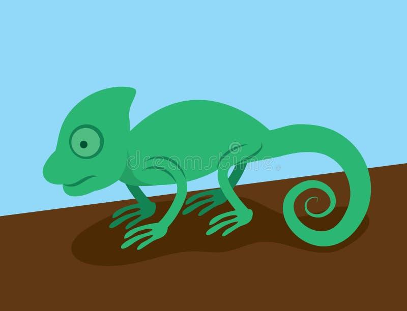 Chameleon. Green chameleon standing on a branch or log stock illustration