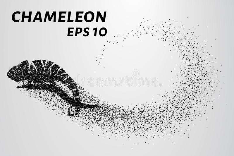 Chameleon particle. The silhouette of a chameleon is made up of little circles. Vector illustration royalty free illustration