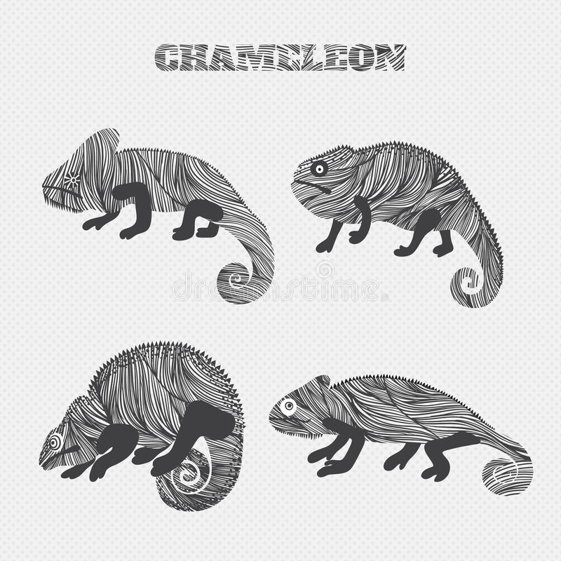 Chameleon set collection. Stickers, posters, background. Can be used for wallpapers, pattern fills, web page backgroundssurface royalty free illustration