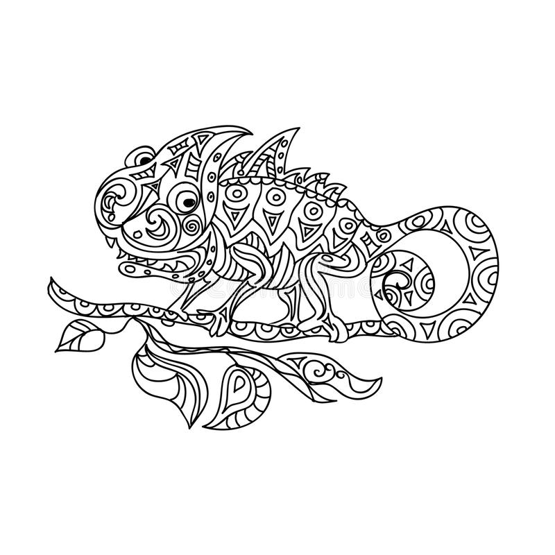 Chameleon zentangle. Coloring page royalty free illustration