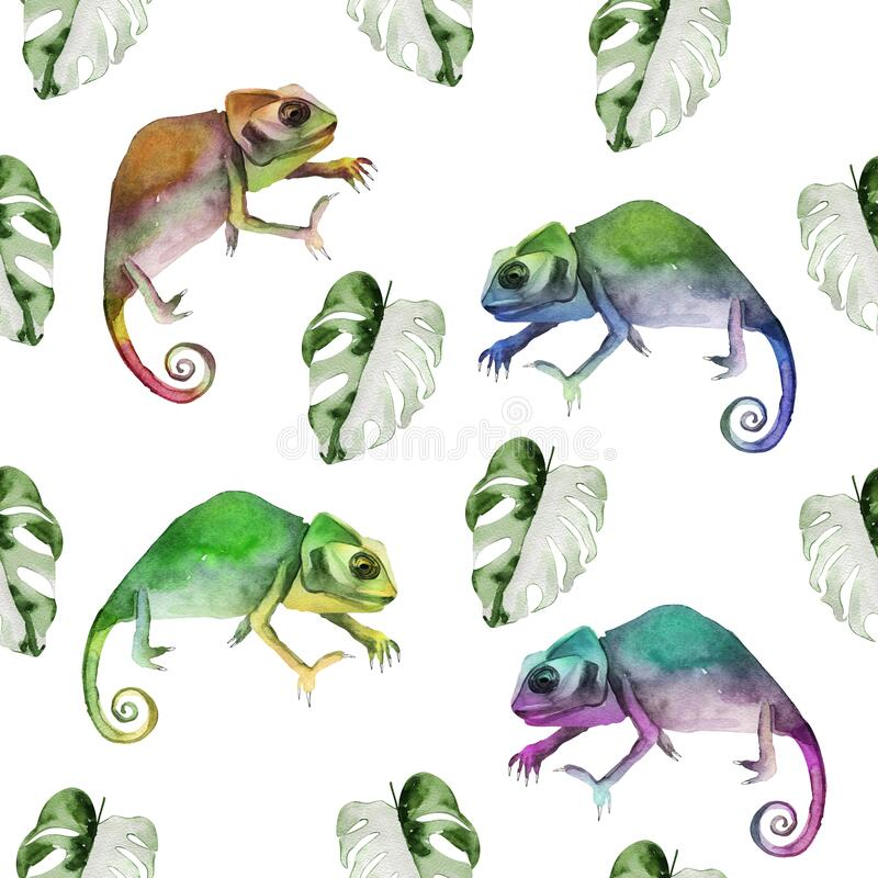 Free Chameleons Among Tropical Monstera Leaves Watercolor Seamless Pattern Stock Photography - 214661662