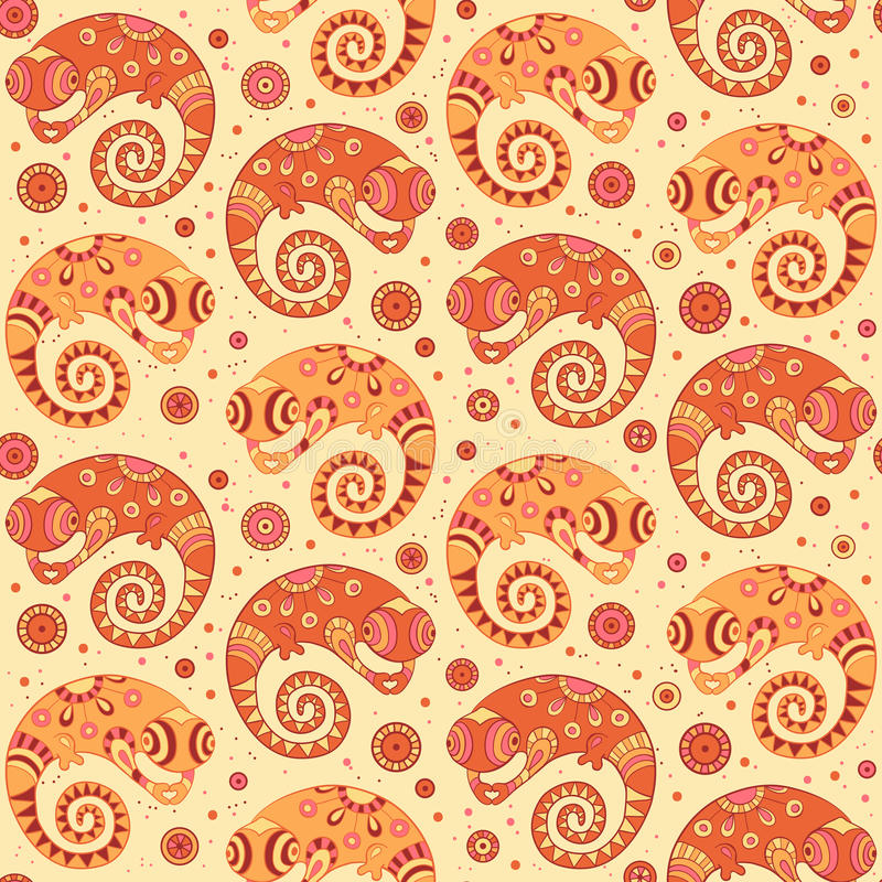 Download Chameleons Decorative Seamless Pattern In Cartoon Stock Vector - Image: 32661014