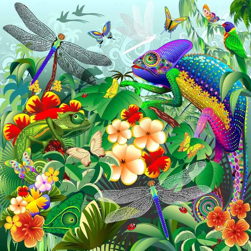 Chameleons Hunting, Dragonflies, Butterflies, Ladybugs. A Jungle Scenery with several chameleons hunting insects like Dragonflies, Butterflies, and Ladybugs