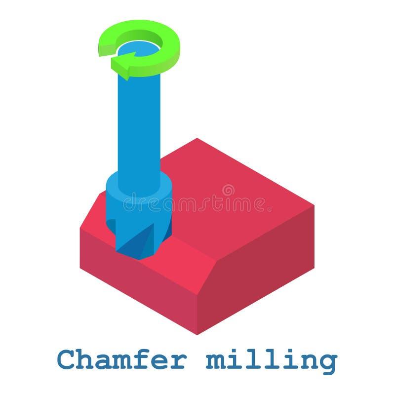 Chamfer malningmetallarbetesymbolen, isometrisk stil 3d royaltyfri illustrationer