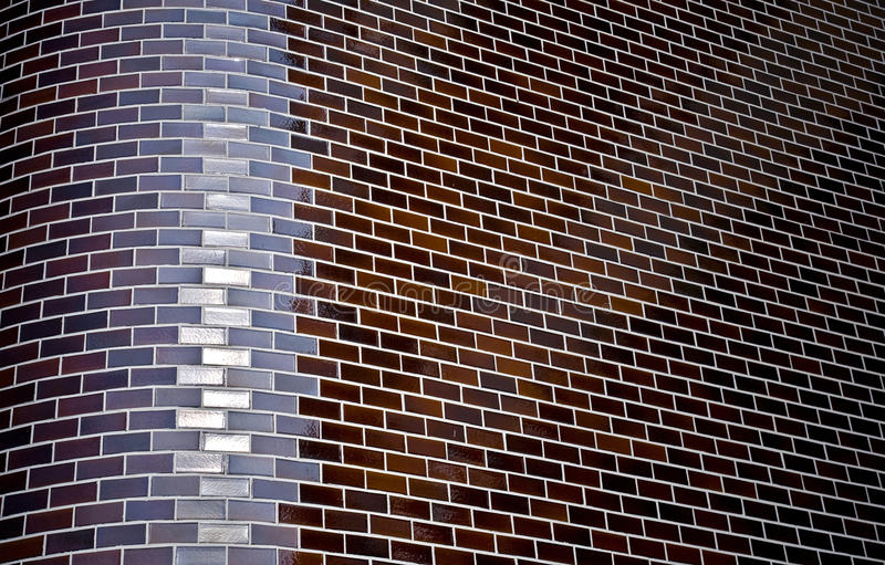 Chamfered Corner Of Decorative Brick Wall Stock Images