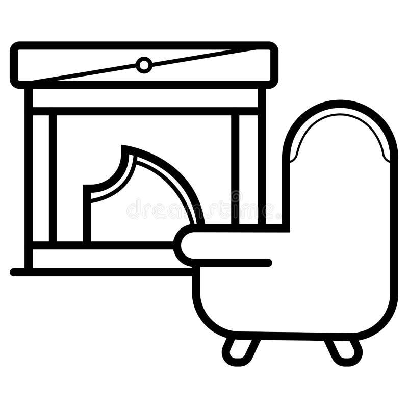 Chaminé com ícone do sofá ilustração do vetor