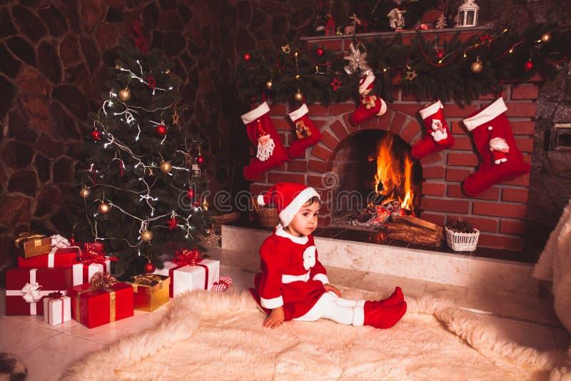 Chaminé da decoração do Natal imagem de stock