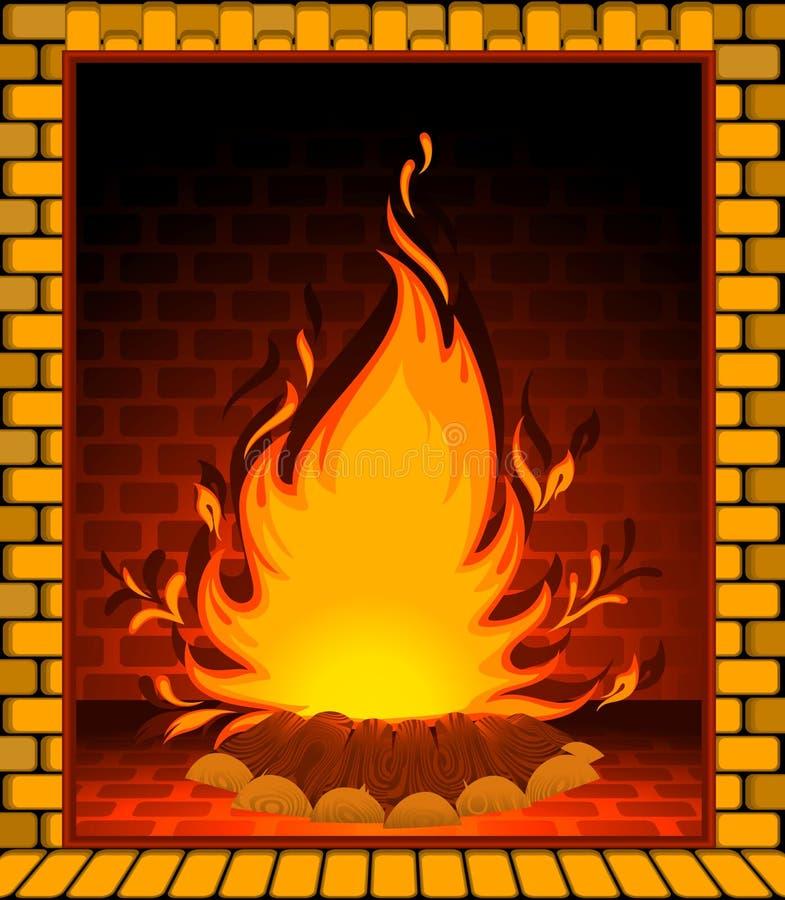 Chaminé de pedra com um incêndio conflagrant ilustração stock