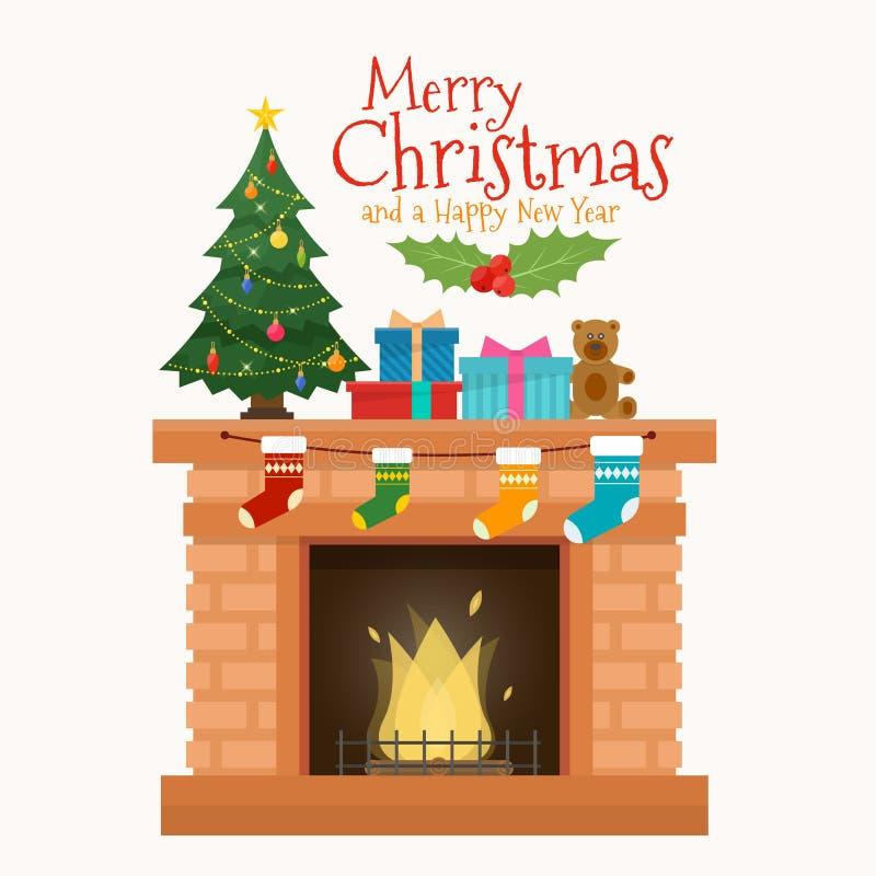 Chaminé do Natal com peúgas, decorações e árvore ilustração do vetor